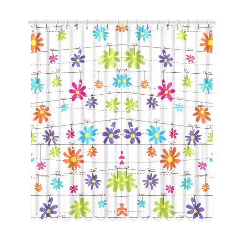 "colorful flowers hanging on lines Window Curtain 50""x108""(Two Piece)"