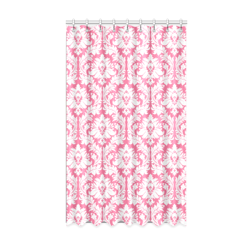 "damask pattern pink and white Window Curtain 50"" x 84""(One Piece)"