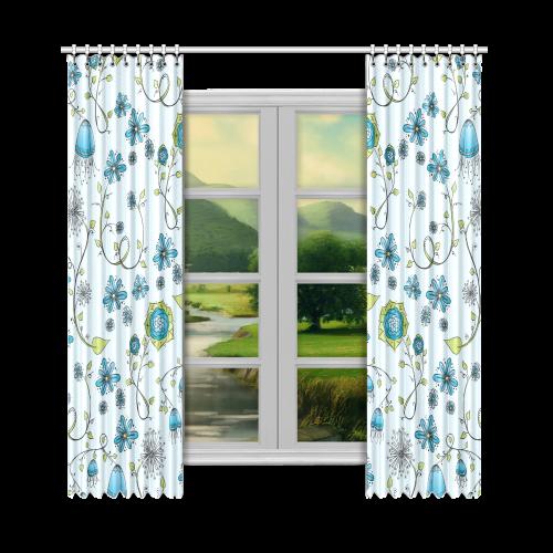 "blue fantasy doodle flower pattern Window Curtain 50""x108""(Two Piece)"