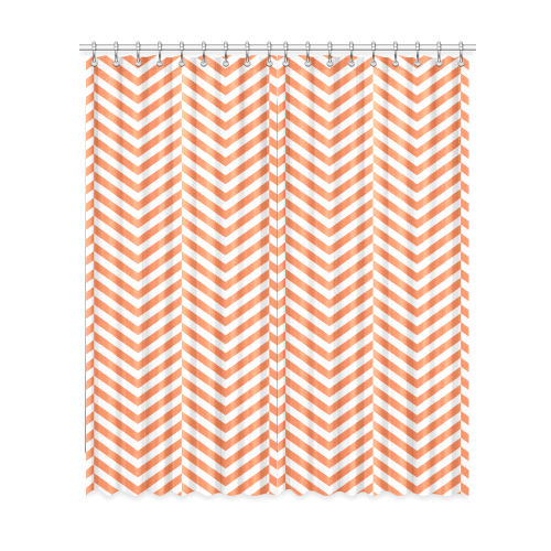 "orange and white classic chevron pattern Window Curtain 52""x120""(Two Piece)"