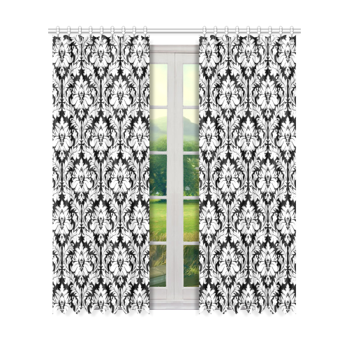 "damask pattern black and white Window Curtain 50"" x 84""(One Piece)"