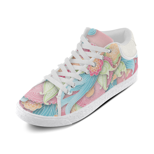 bright blue green pink yellow flowers Men's Chukka Canvas Shoes (Model 003)