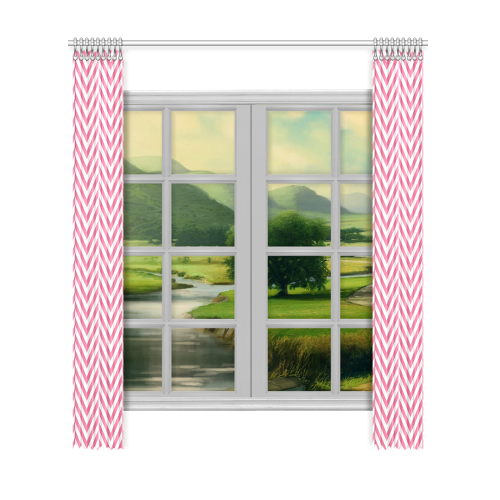 "pink and white classic chevron pattern Window Curtain 52""x120""(Two Piece)"