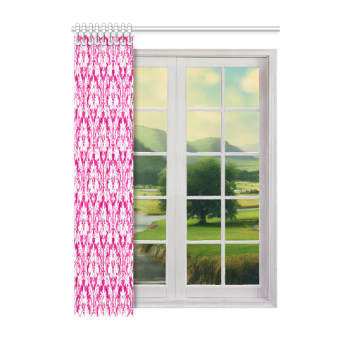 "damask pattern hot pink and white Window Curtain 52"" x 72""(One Piece)"