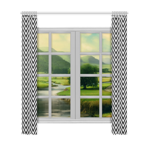 "black and white classic chevron pattern Window Curtain 52""x120""(Two Piece)"