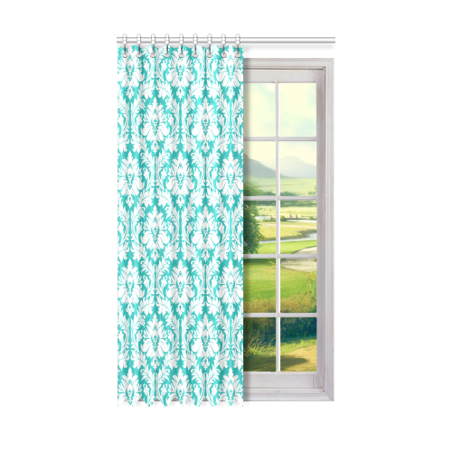 "damask pattern turquoise and white Window Curtain 50"" x 84""(One Piece)"