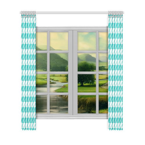 "turquoise and white houndstooth classic pattern Window Curtain 52""x120""(Two Piece)"