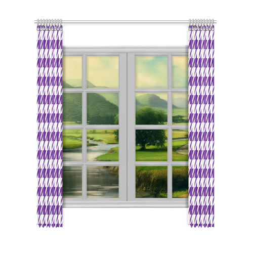 "royal purple and white houndstooth classic pattern Window Curtain 52""x120""(Two Piece)"