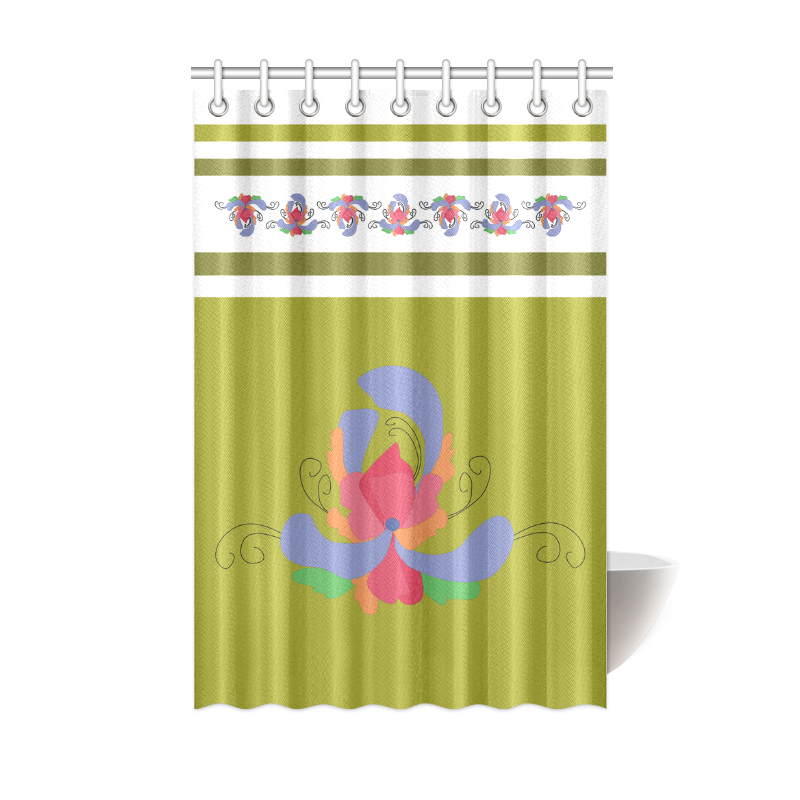 "Flower Borders and Stripes Green Shower Curtain 48""x72 ..."