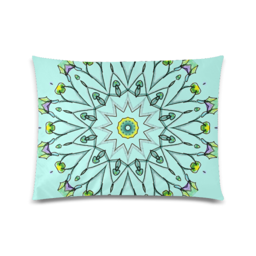 "Green Vines Leaves Star Wheel Matrix Mandala Teal Custom Picture Pillow Case 20""x26"" (one side)"
