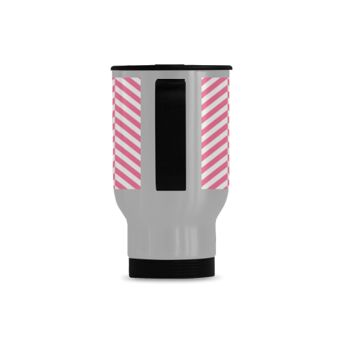 pink and white classic chevron pattern Travel Mug (Silver) (14 Oz)