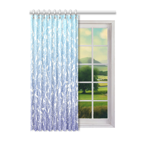 "blue ombre feather pattern Window Curtain 52"" x 72""(One Piece)"