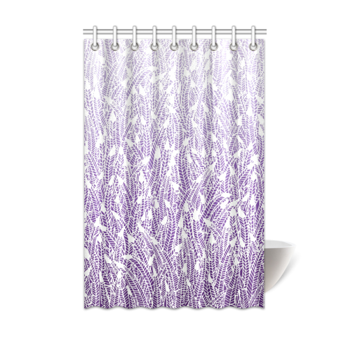 Purple Ombre Feathers Pattern White Shower Curtain 48x72