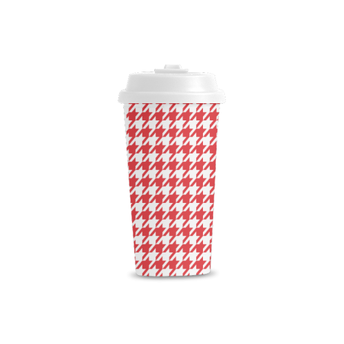 red and white houndstooth classic pattern Double Wall Plastic Mug