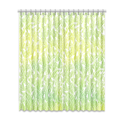 "yellow green white feather pattern Window Curtain 52""x120""(Two Piece)"
