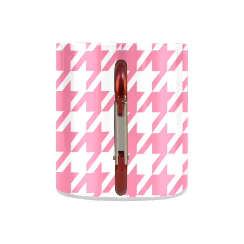 pink and white houndstooth classic pattern Classic Insulated Mug(10.3OZ)