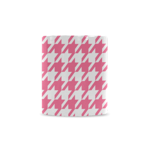 pink and white houndstooth classic pattern White Mug(11OZ)