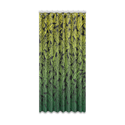 "yellow green ombre feathers pattern black Window Curtain 50"" x 108""(One Piece)"