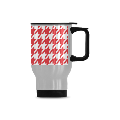 red and white houndstooth classic pattern Travel Mug(Silver)