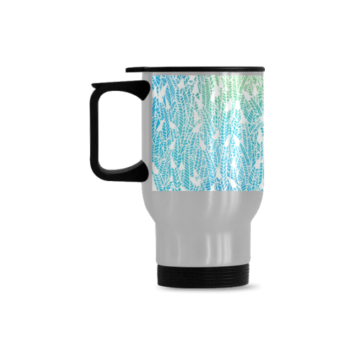 blue white feather pattern Travel Mug (Silver) (14 Oz)