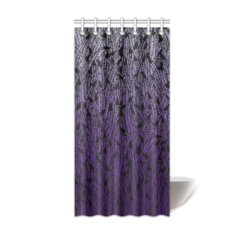Purple Ombre Feathers Pattern Black Shower Curtain 36x72