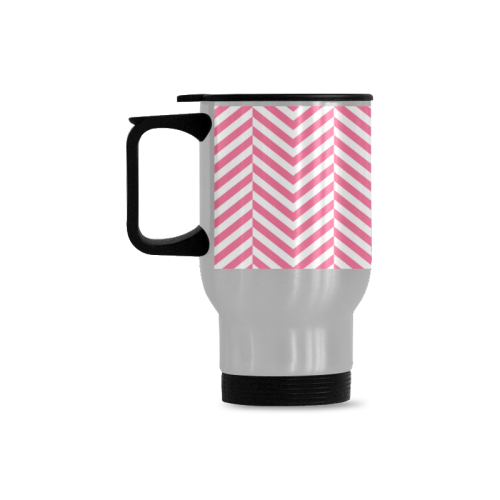pink and white classic chevron pattern Travel Mug(Silver)