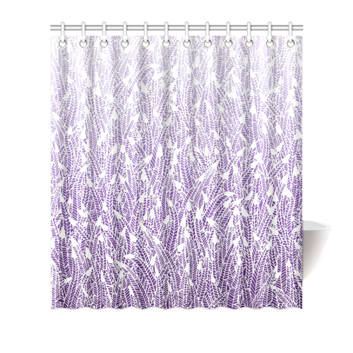 "purple ombre feathers pattern white Shower Curtain 66""x72"""