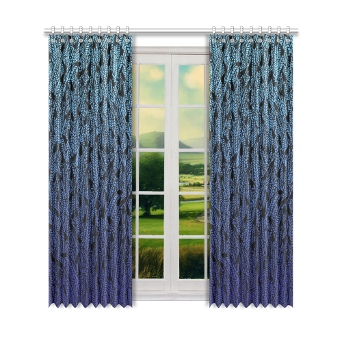 "blue ombre black feather pattern Window Curtain 52"" x96""(One Piece)"