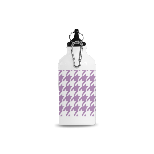 lilac and white houndstooth classic pattern Cazorla Sports Bottle(13.5OZ)