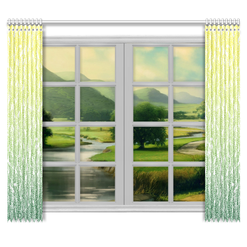 """yellow green ombre feathers pattern white Window Curtain 50""""x84""""(Two Piece)"""
