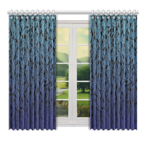 """blue ombre black feather pattern Window Curtain 52"""" x 72""""(One Piece)"""