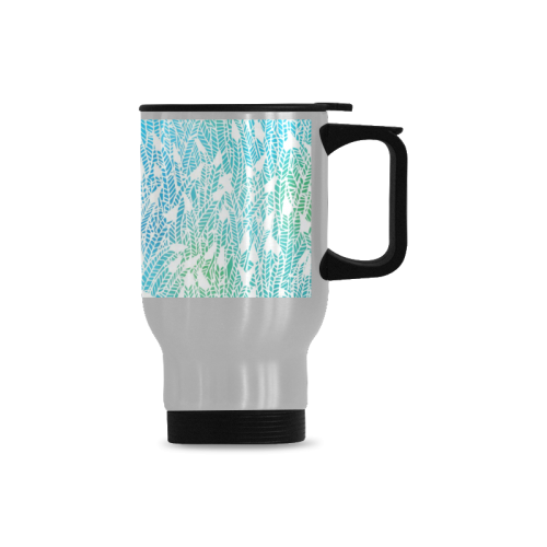blue white feather pattern Travel Mug(Silver)