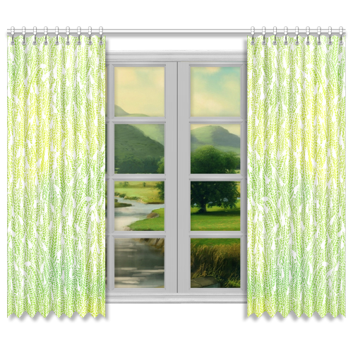 "yellow green white feather pattern Window Curtain 50""x84""(Two Piece)"
