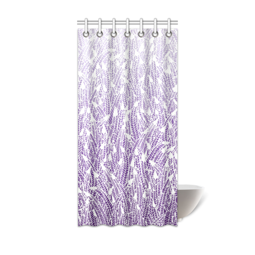 Purple Ombre Feathers Pattern White Shower Curtain 36x72