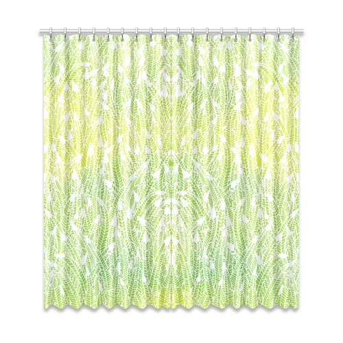 "yellow green white feather pattern Window Curtain 50""x108""(Two Piece)"