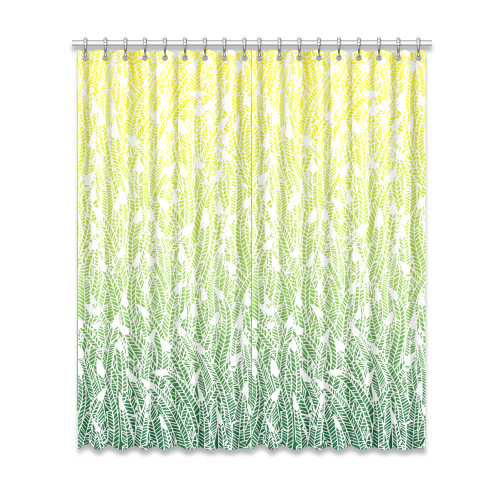 "yellow green ombre feathers pattern white Window Curtain 52""x120""(Two Piece)"