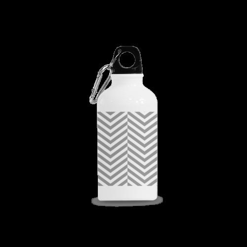 grey and white classic chevron pattern Cazorla Sports Bottle(13.5OZ)