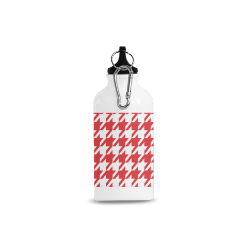 red and white houndstooth classic pattern Cazorla Sports Bottle(13.5OZ)