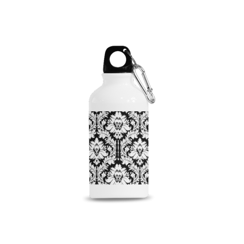 damask pattern black and white Cazorla Sports Bottle(13.5OZ)