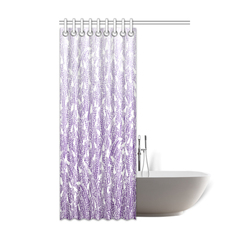 "purple ombre feathers pattern white Shower Curtain 48""x72"""