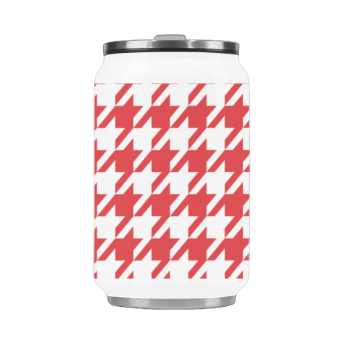 red and white houndstooth classic pattern Stainless Steel Vacuum Mug (10.3OZ)