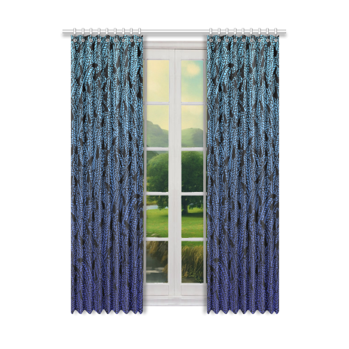 "blue ombre black feather pattern Window Curtain 50"" x 108""(One Piece)"
