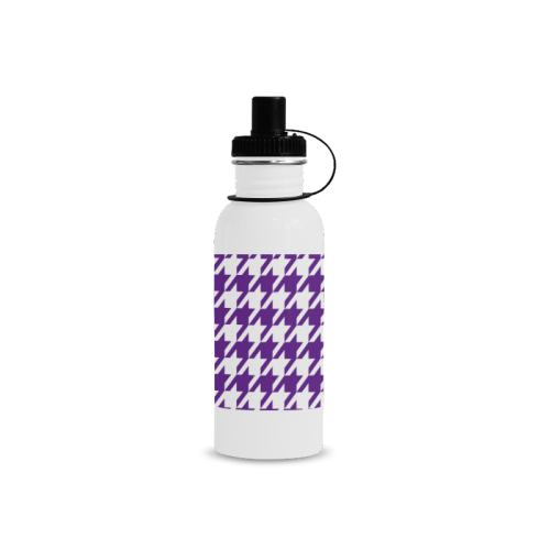 royal purple and white houndstooth classic pattern Manchester Sports Bottle(22OZ)