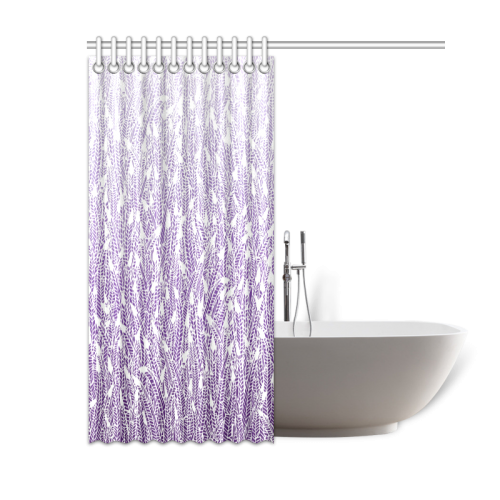 Purple Ombre Feathers Pattern White Shower Curtain
