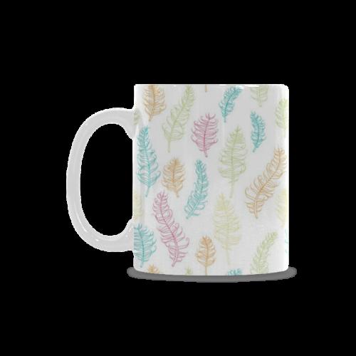 fun feather pattern teal pink orange green White Mug(11OZ)