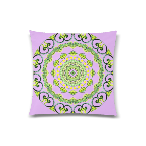"""Green Lace Flowers, Leaves Mandala Design Lilac Custom Zippered Pillow Case 20""""x20""""(Twin Sides)"""