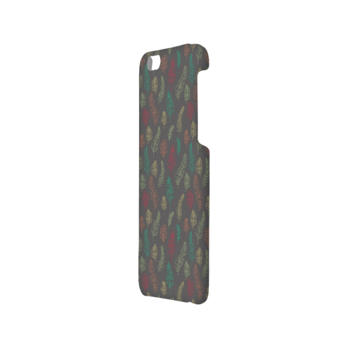 green orange red feather leaves on grey Hard Case for iPhone 6/6s
