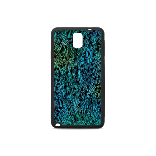 blue black feather pattern Rubber Case for Samsung Galaxy Note 3