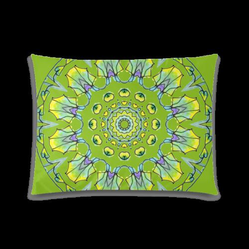 "Yellow, Green, Purple Flowers, Leaves Mandala Olive Custom Zippered Pillow Case 20""x26""(Twin Sides)"