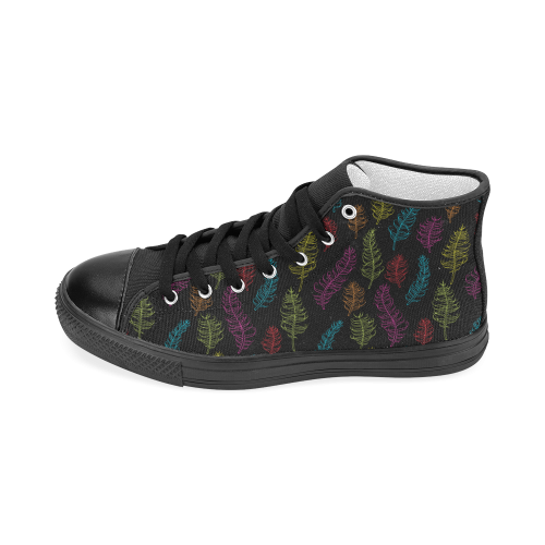 bright pink red blue green yellow feather leaves Women's Classic High Top Canvas Shoes (Model 017)